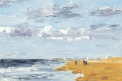 Katwijk aan Zee, olieverf op paneel 13x18cm, 2021