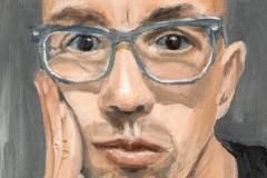 Zelfportret, olieverf op paneel 10x15cm, 2021